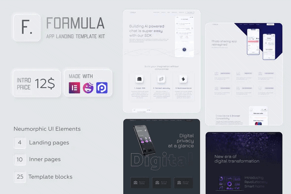 Formula - Software & App Landing Elementor Template Kit